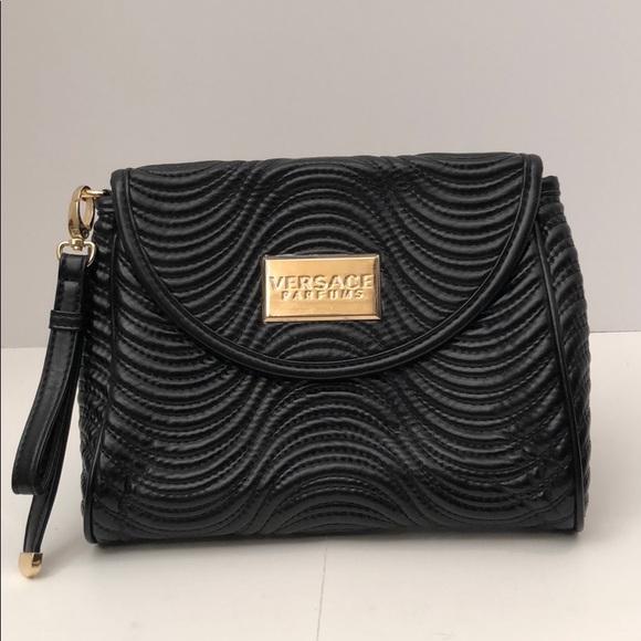 Versace Parfums Black Faux Leather Clutch Bag